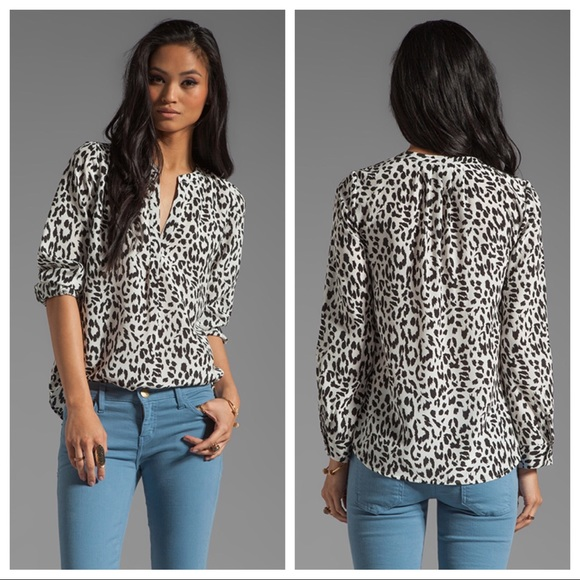 8cd3fc7a1f82 Joie Tops - Joie Black   White Animal Print Silk Blouse